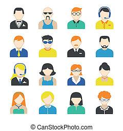set, carattere, avatar, icone