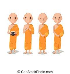 set, carattere, isolare, monaco, asia, vettore