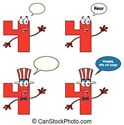 set, carattere, numero, collezione, quattro, 2., cartone animato, rosso, mascotte