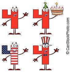 set, carattere, numero, collezione, quattro, mascotte, cartone animato, rosso, 1.