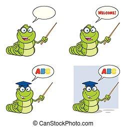 set, carattere, verme, collezione, libro, 3., cartone animato, mascotte