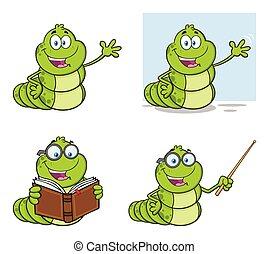 set, carattere, verme, collezione, libro, mascotte, cartone animato, 1.