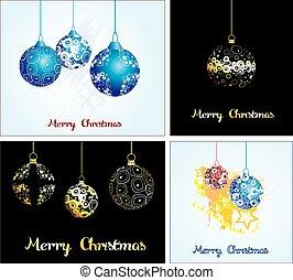 Set. Card with Christmas balls.