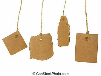 Set cardboard blank tag tied