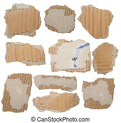 Set Cardboard Scraps isolated
