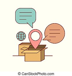 set cardboard with callout and symbol global and location...