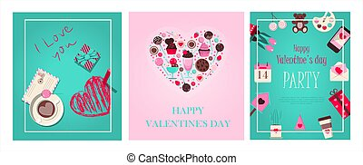 Set cards for valentine s day. Romantic picture in pink, turquoise and red. A music store with records and songs for the holiday of all lovers. Vector illustration for the app, website and advertising banner.