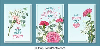 Set cards Mothers Day - Happy Mothers Day. Set templates ...