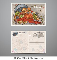 Set cards of two sides on the autumn theme