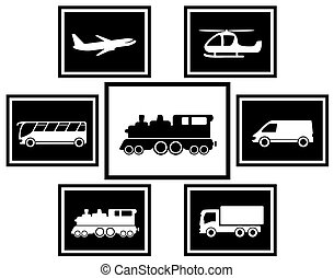 set cargo and freight transport icons on black backdrops