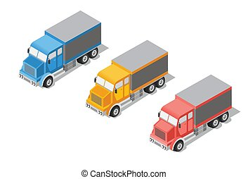 Set cargo truck isometric transportation icon. Lorry with...