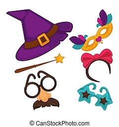 set, carnaval, hoedjes, illustratie, vector, maskers, decoraties