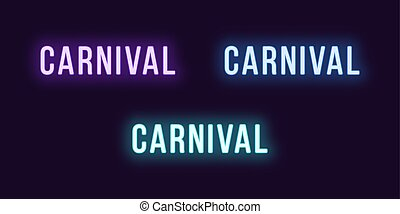 set, carnaval, tekst, word., neon, gloeiend, pictogram
