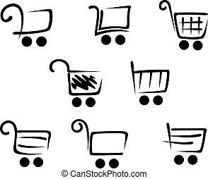 set, carrello, icone