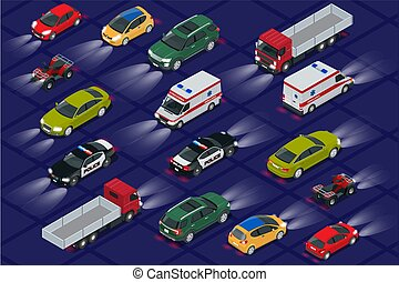 Set cars with car lights realistic isometric view. Automobile car headlights in darkness. Urban public transport for passenger transportation.
