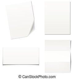 set., -, carta, vettore, fogli, bianco