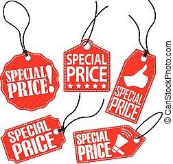 set, cartellino del prezzo, illustrazione, vettore, speciale