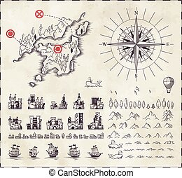 set, cartografia, medievale