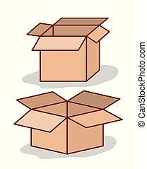 set carton box opened on white background