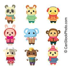 set, cartone animato, animale, inverno
