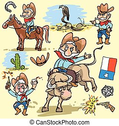 set, cartone animato, cowboy