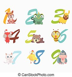 set, cartone animato, divertente, numeri, animals.