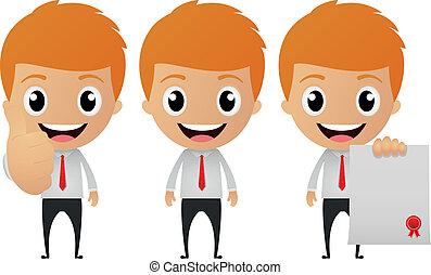 set, cartone animato, divertente, uomo affari