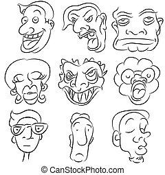 set, cartone animato, faccia