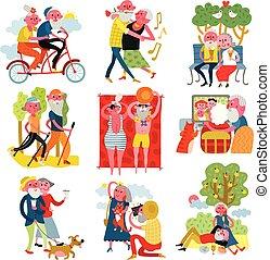 set, cartone animato, persone anziane