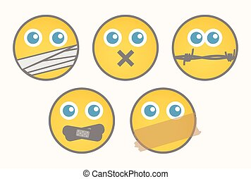 set, -, cartone animato, smiley, muto