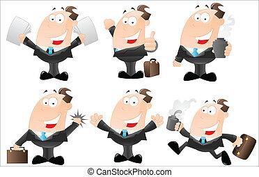 set, cartone animato, uomini affari