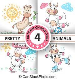 Set Cartoon animals cow, deer, bull, giraffe.