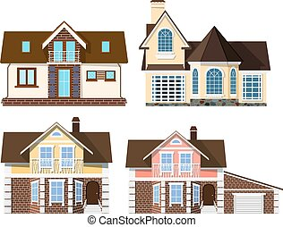 Set Cartoon beautiful small cozy rural houses on a white background. Vector illustration