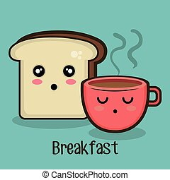 set cartoon breakfast design