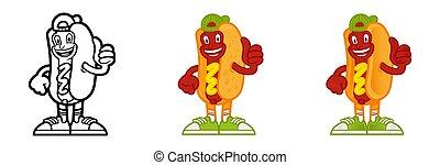Set cartoon character hot dog
