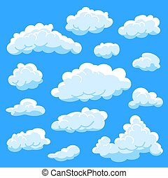 Set cartoon clouds on blue background, cloudy sky