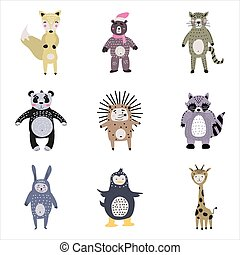 Set cartoon cute animals for kids in scandinavian style. Vector isolated postcard flyer, page, banner design.