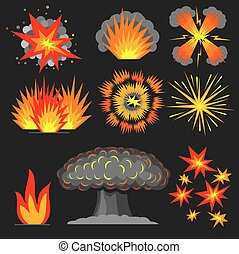 Set cartoon explosions.