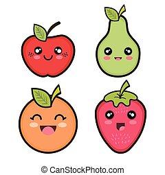 set cartoon fruits design