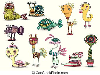 set cartoon funny Monster