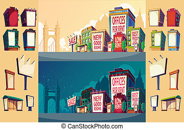 Set cartoon illustration of an urban landscape with buildings and a large billboard on the wall.