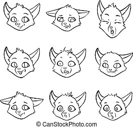 Set cartoon interesting emotions of little fox