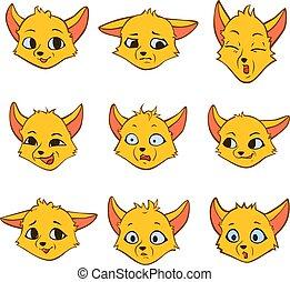 Set cartoon interesting emotions of little yellow fox