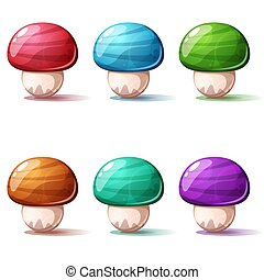 Set cartoon mushroom. Red, blue, green, yellow, pink icon.