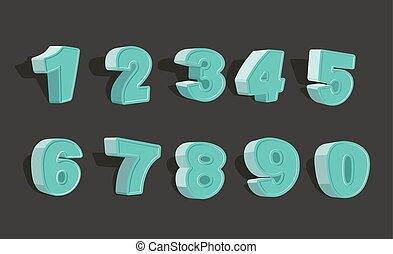 set cartoon numbers 3d