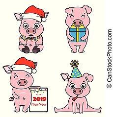 set cartoon pigs