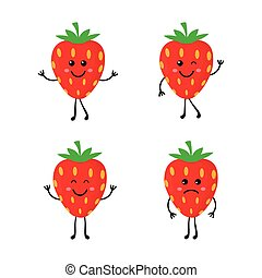 set cartoon strawberrys