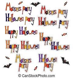 Set cartoon words Halloween