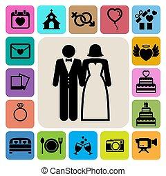 set., casório, ícones