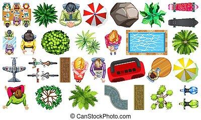 set, casa, elemento, aereo, decorazioni, isolato